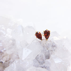 Red Garnet Studs . Gold and Sterling Silver