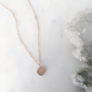 Initial Necklace . Rose Gold