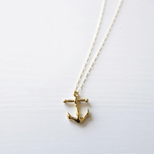 handmade gold anchor necklace shazoey australia