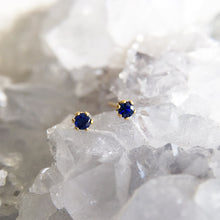 2mm blue sapphire studs pair gold crystal shazoey