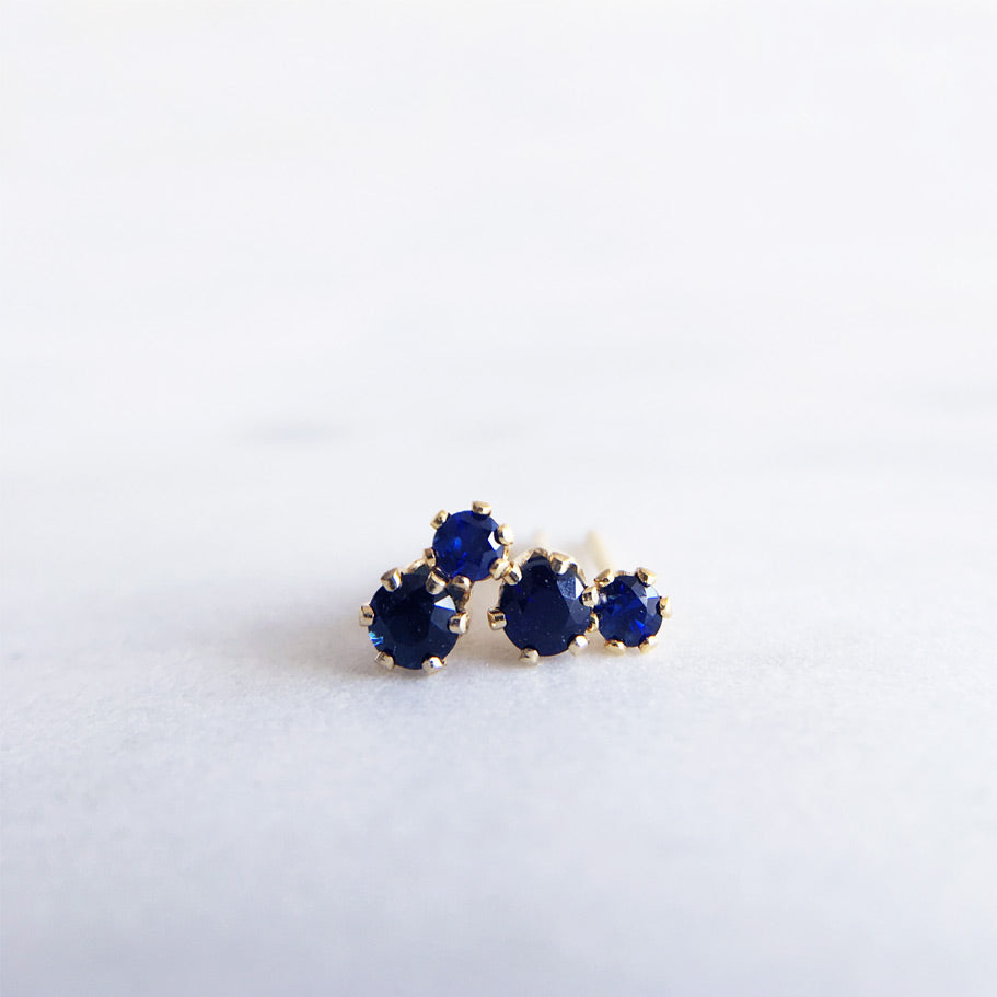 blue sapphire studs 2mm 3mm gold filled shazoey