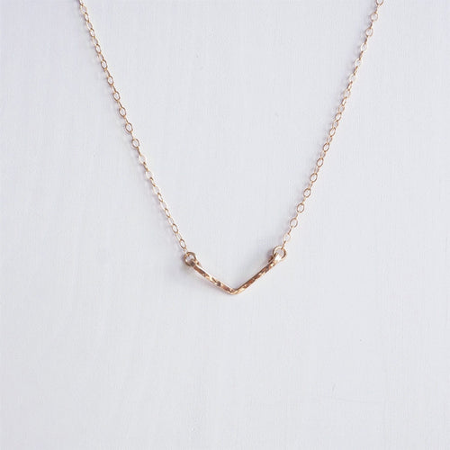 rose gold v necklace chevron shazoey
