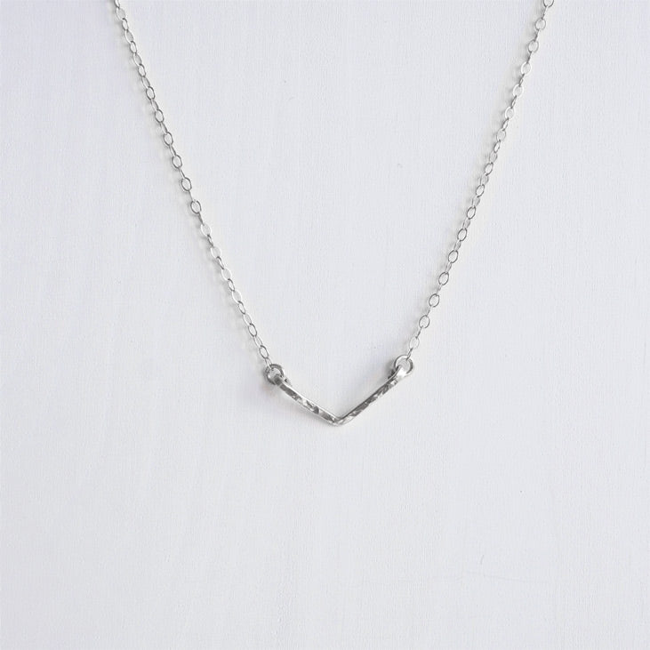 sterling silver chevron necklace shazoey handmade