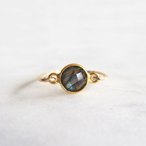 Labradorite Ring . Gold
