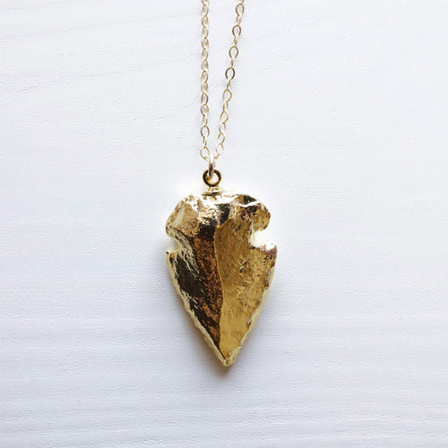 Arrowhead Necklace . Gold