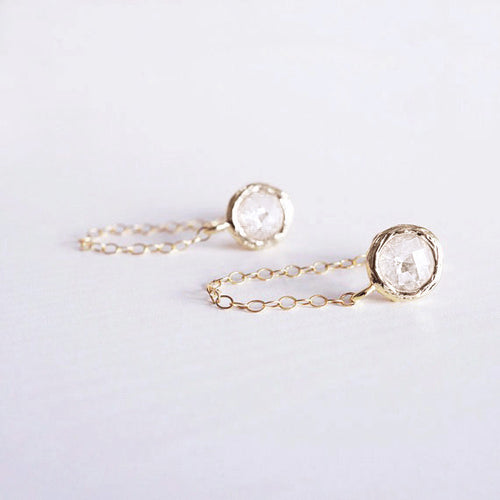 gold crystal chain stud earrings shazoey