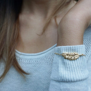 Feather Bracelet . Gold