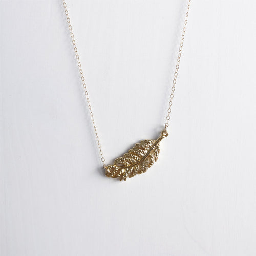 gold feather necklace shazoey