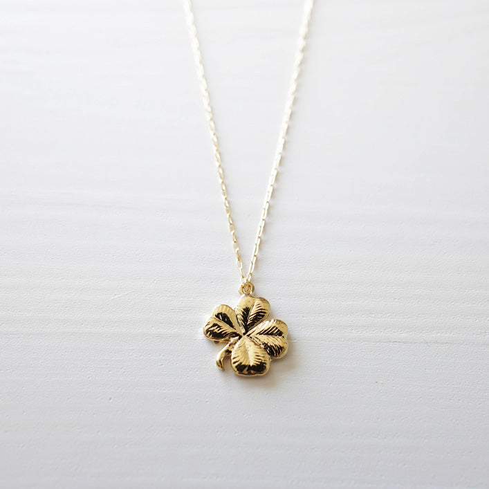 gold four leaf clover necklace shazoey