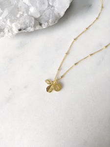 Leaf Necklace . Gold