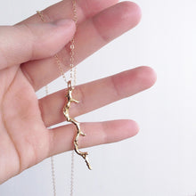 Twig Necklace . Gold