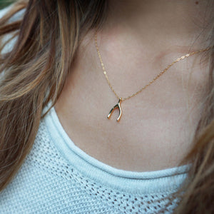 gold wishbone necklace shazoey gift