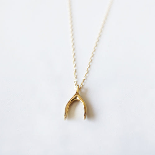 gold wishbone necklace charm shazoey