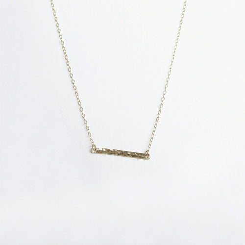 gold hammered bar necklace shazoey