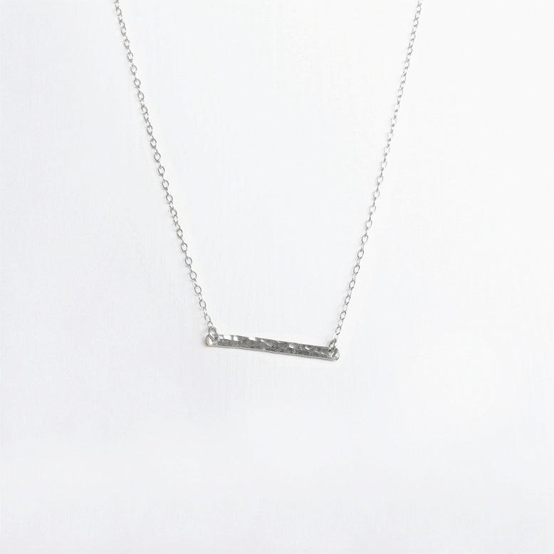 Hammered Bar Necklace . Sterling Silver