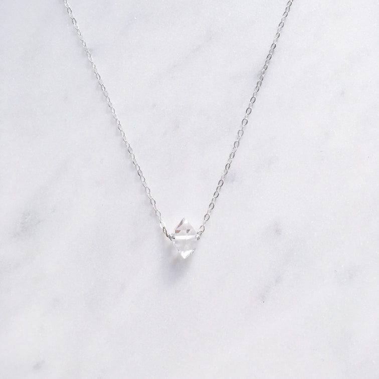 sterling silver herkimer diamond necklace quartz shazoey