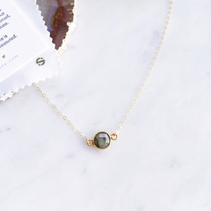 Labradorite Necklace . Gold