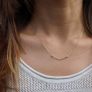 Chevron Necklace . Gold
