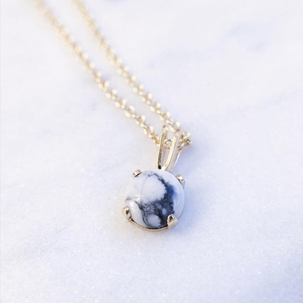 handcrafted marble necklace white howlite gold shazoey jewellery