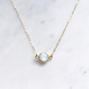 rainbow moonstone necklace gold front shazoey