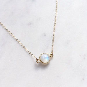 rainbow moonstone necklace gold side shazoey