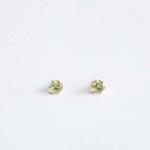 Peridot Studs . Gold / Sterling Silver 3mm