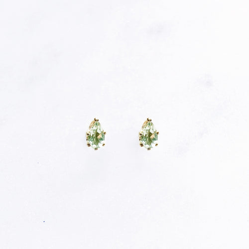 Peridot Pear Teardrop Studs . Gold / Sterling Silver