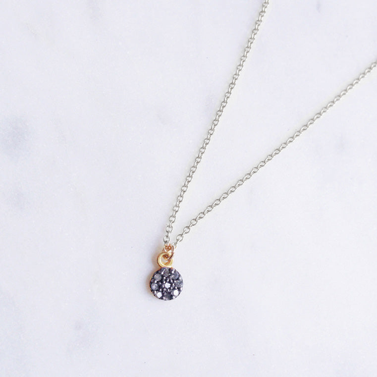 rough diamond necklace pave charm shazoey
