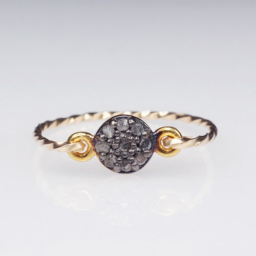 pave diamond ring gold filled shazoey