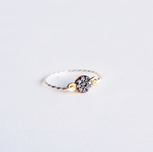 rough diamond ring sterling silver gold shazoey