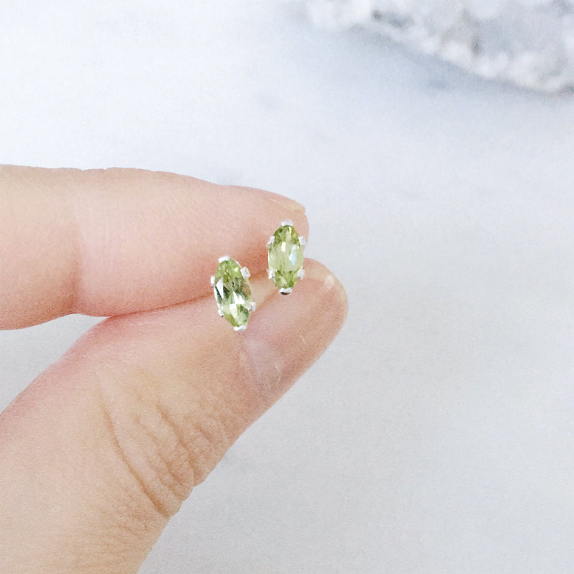 Peridot Studs . Gold and Sterling Silver