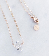 Herkimer Diamond Necklace . Gold / Rose Gold