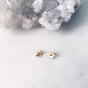 White Topaz Studs . Gold 3mm
