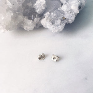 White Topaz Studs . Sterling Silver 3mm