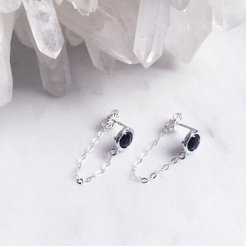 silver black stud chain earrings crystal shazoey