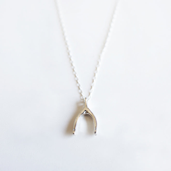 sterling silver wishbone necklace charm shazoey