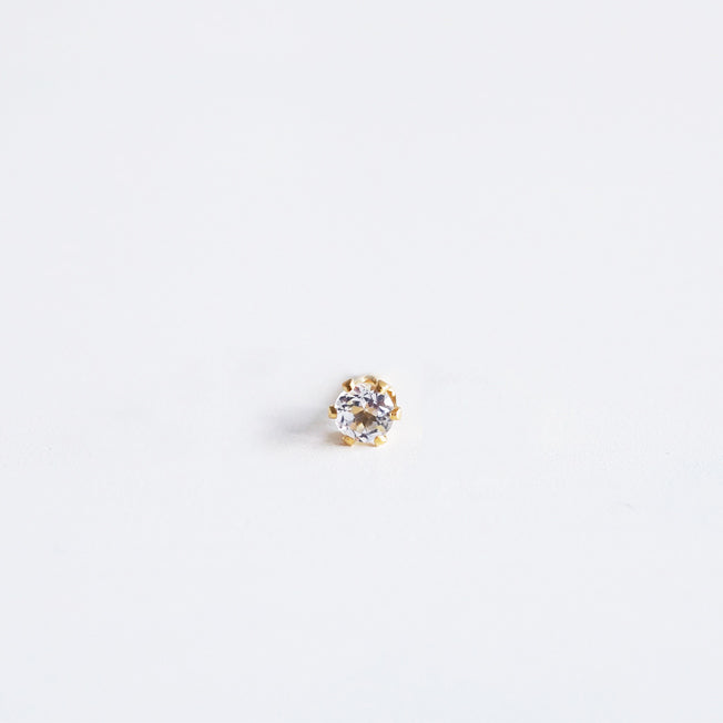 white topaz single stud gold shazoey
