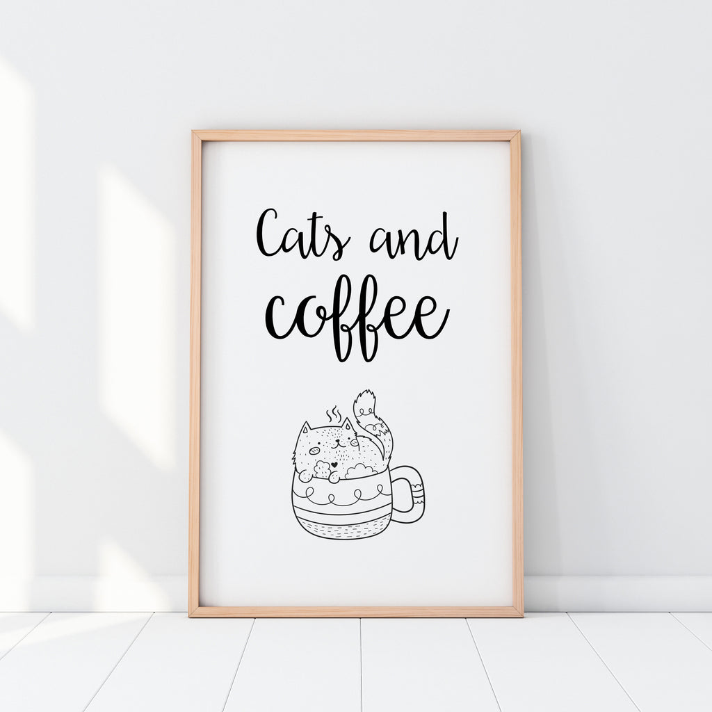 Cats And Coffee Print