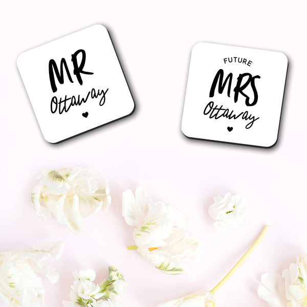 Personalised Mr and Future Mrs Coaster