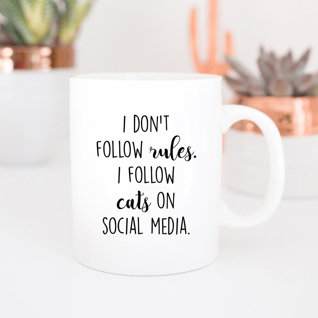 I Don't Follow Rules I Follow Cats On Social Media Mug