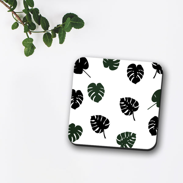Monstera Tropical Leaf Print Coaster
