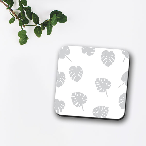 Grey Monstera Tropical Leaf Print Coaster