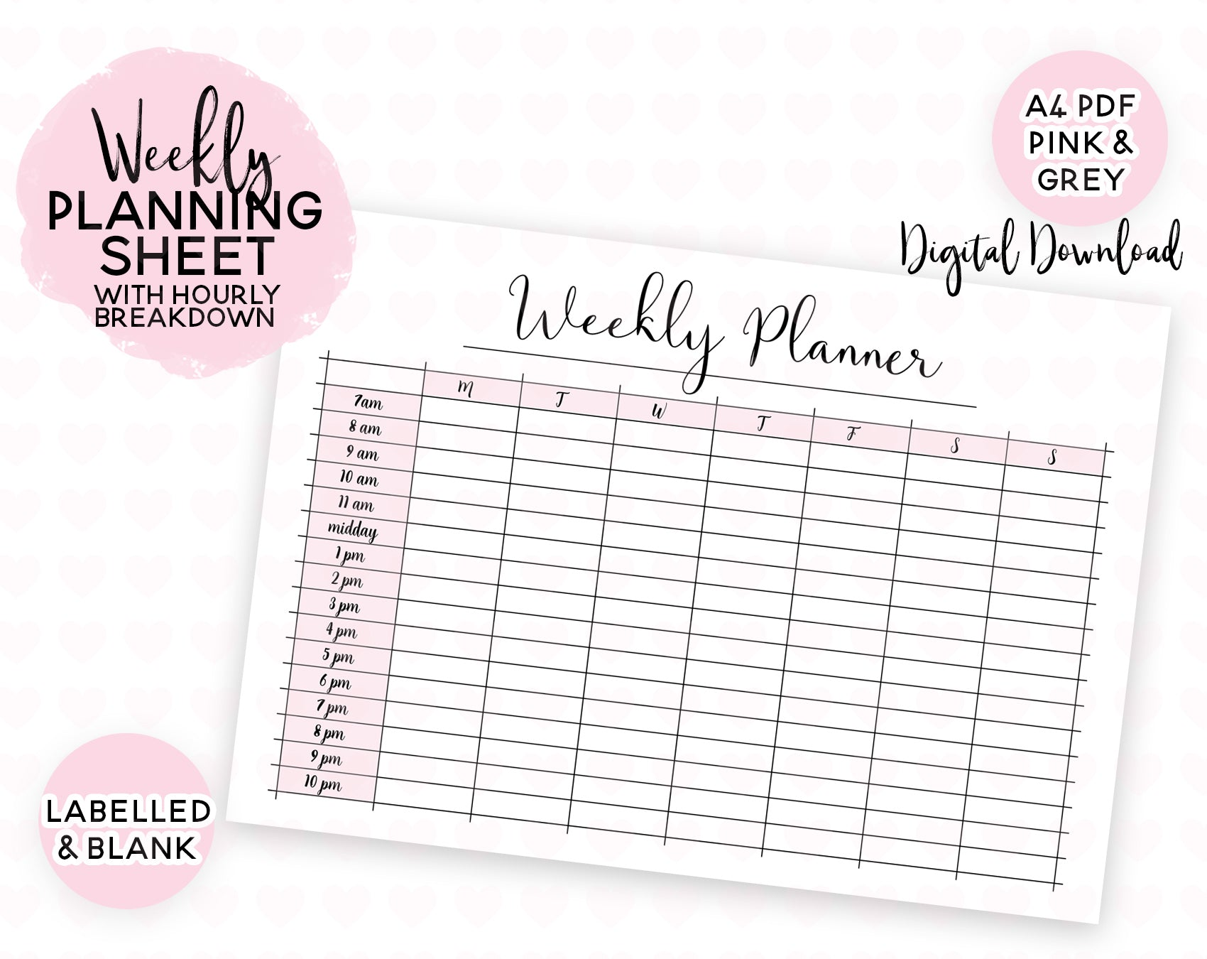 image regarding Cute Hourly Planner named Weekly Designing Sheet With Hourly Breakdown - Adorable Prints