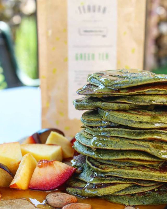 Completed matcha pancakes