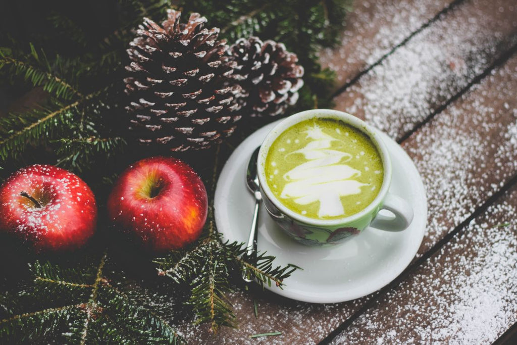 Christmas matcha latte