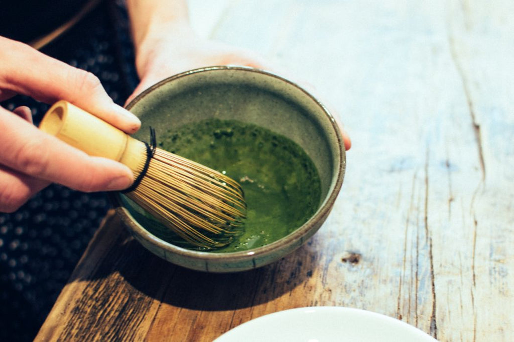 Matcha with whisk