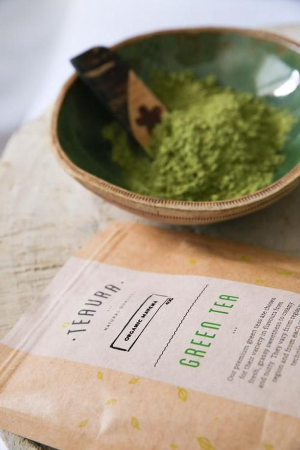Teaura matcha powder with package