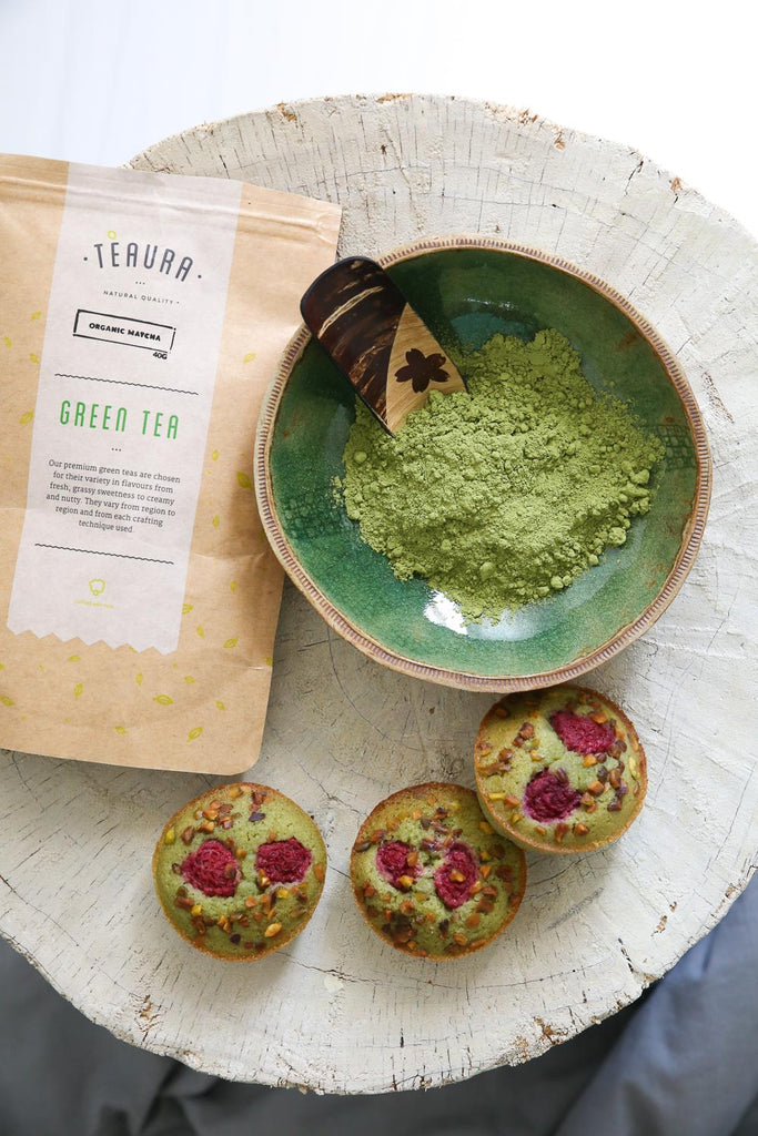 Matcha powder and cakes
