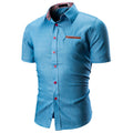 Men Casual Short Sleeve Shirt - Blue NavyBlue