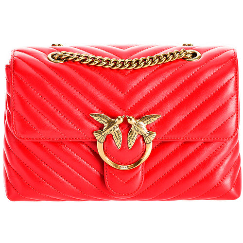 Borsa PINKO Lady Love Bag Puff Chevronne in Pelle Rossa